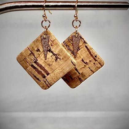 Cork Leather Square Earrings, Gold ..