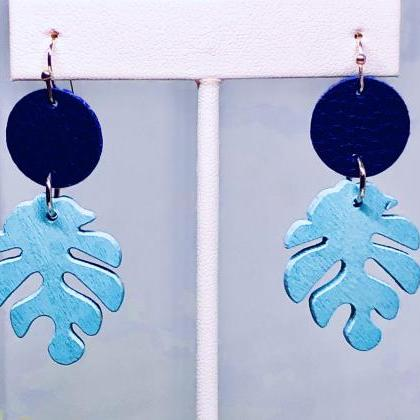 Faux Leather Circle Dangle Earrings..