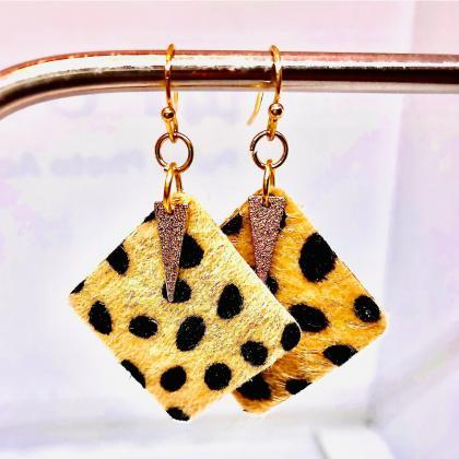 Faux Leather Square Earrings, Fuzzy..