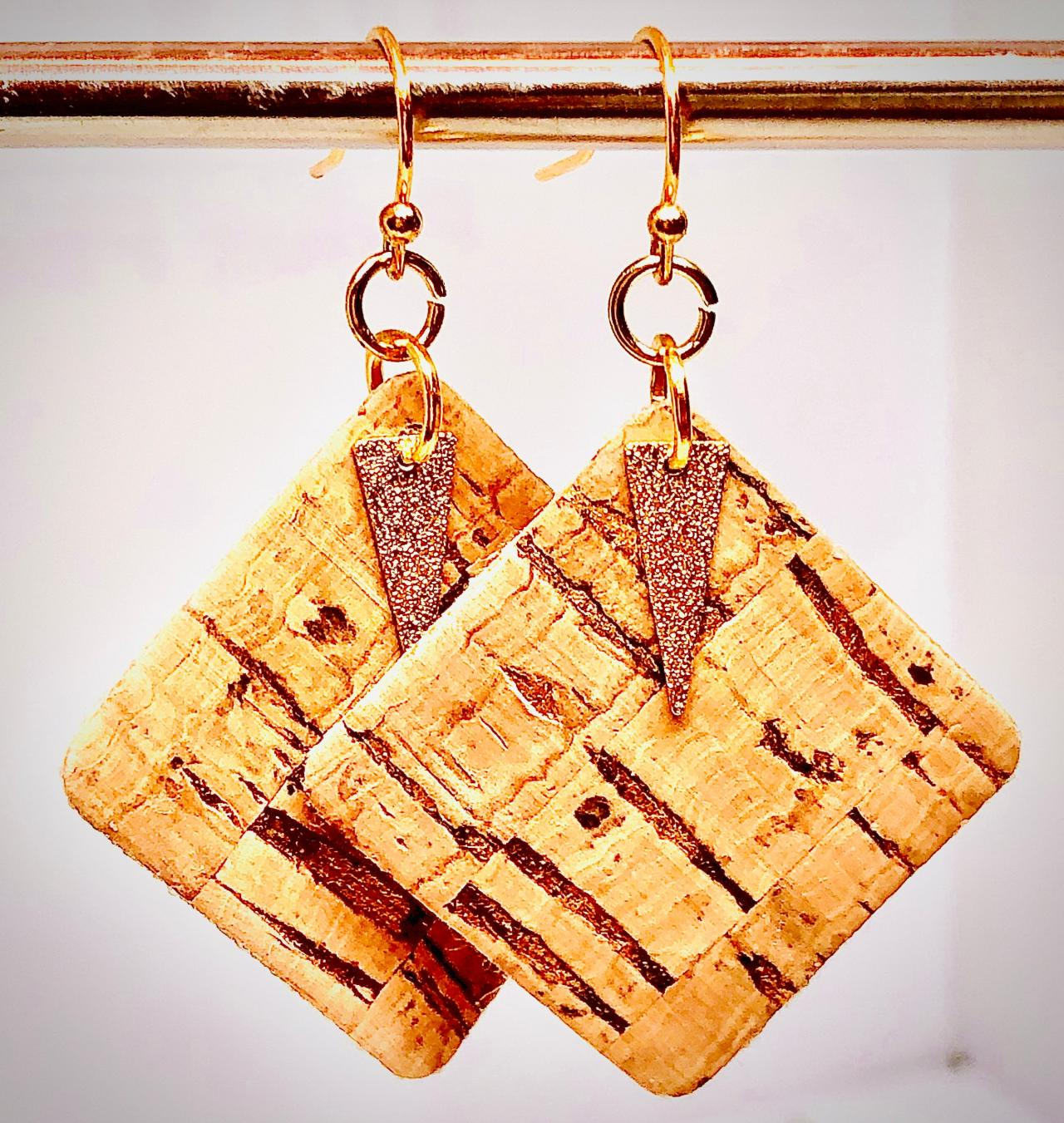 Cork Leather Square Earrings, Gold Splattered Cork, Gold Hammered Spear Pendant, Double-Sided, Dangle Earrings, Lightweight, Easy to Wear