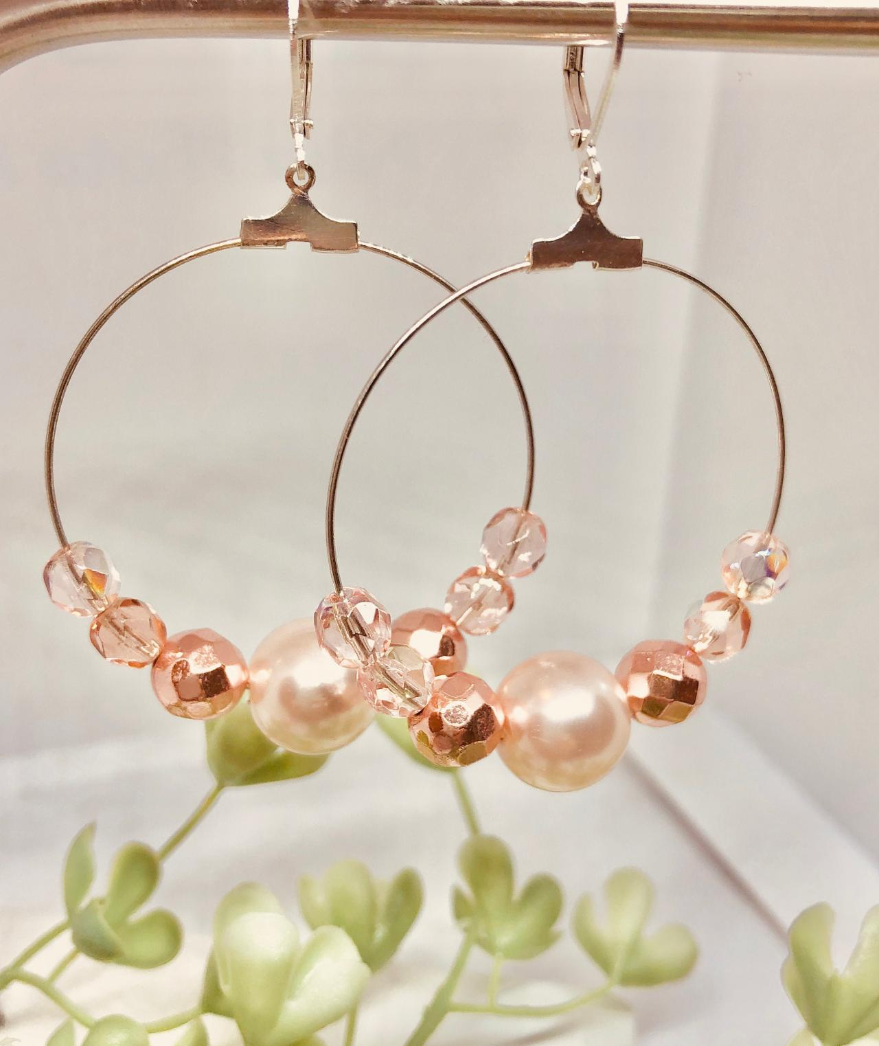Large Dangle Hoop Earrings, Large Pearl, Pink Faceted Beads, Shades of Pink, Lever-back Hooks, Hoop Dangle Earrings