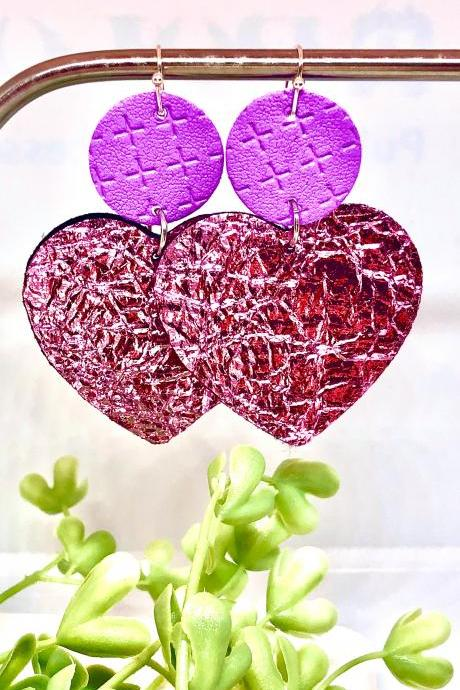 Circle and Heart Shaped Dangles, Purple Textured Circle and Pink Foil Faux Leather Earrings, Double-Sided, Lightweight, Ready to Ship