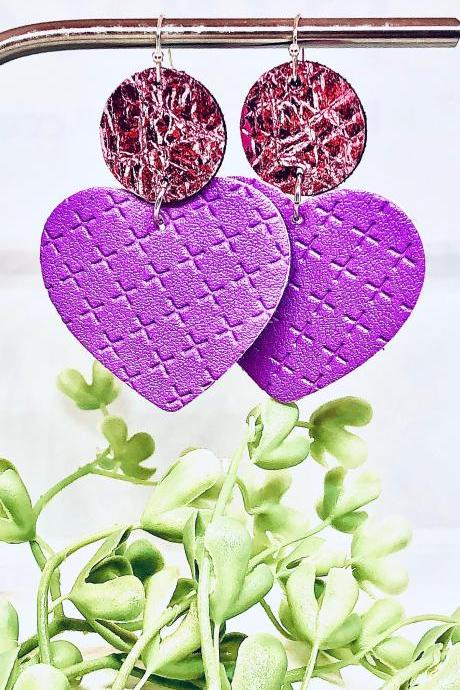 Circle and Heart Shaped Dangles, Pink Foil and Purple Textured Faux Leather Earrings, Double-Sided, Lightweight, Ready to Ship
