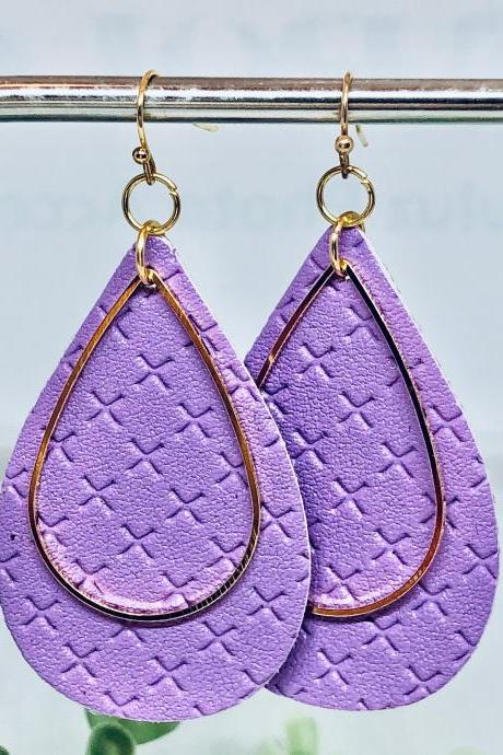 Purple Textured Faux Leather Earrings, Teardrop Earrings, Double-sided Earrings, Gold Teardrop Charm, Dangle Earrings