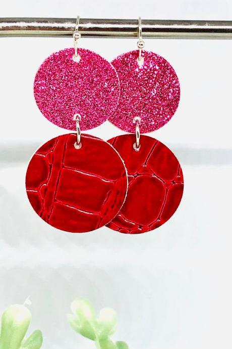 Circle Cut Faux Leather Dangle Earrings, Pink Glittered Circle, Red Crocodile Faux Leather Circle Earrings, Lightweight, Double-sided