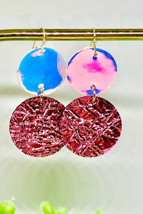 Circle Cut Faux Leather Dangle Earrings, Holographic Leather Circle, Pink Foil Faux Leather Circle Earrings, Lightweight, Double-sided