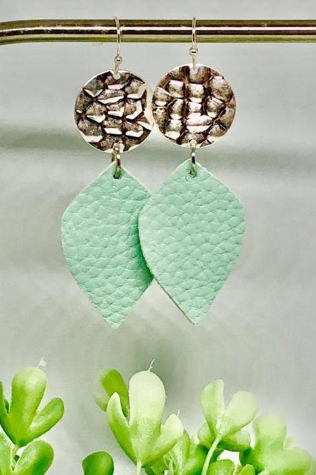Silver Hammered Circle Charm, Mint Green Textured Faux Leather Leaf, Dangle Earrings, Lightweight, Double-sided