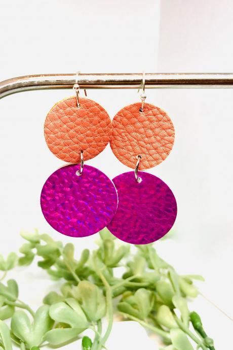 Double Circle Cut Faux Leather Dangle Earrings, Copper Orange Textured Circles, Holograph Pink Textured Circles, Lightweight, Double-sided