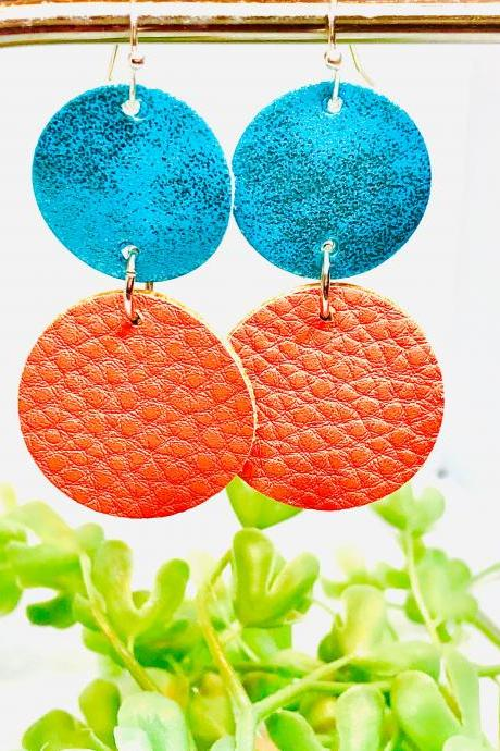 Double Circle Cut Faux Leather Dangle Earrings, Suede Teal Circle Earrings, Copper Orange Textured Circles, Lightweight, Double-sided