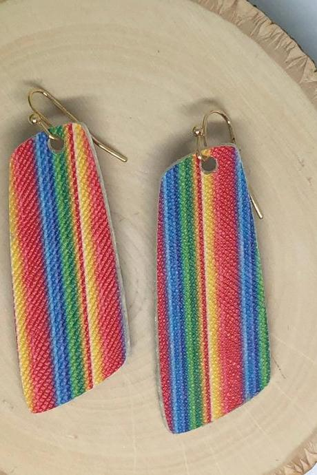 Sarape Striped Litchi Faux Leather Earrings, Double-sided, Oval, Boho Style, Lightweight-Pick Your Style, Ready to Ship