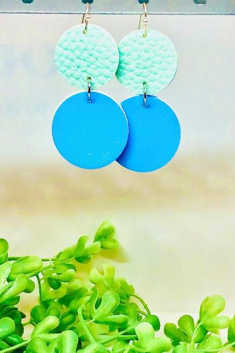 Double Circle Cut Faux Leather Dangle Earrings, Mint Green Textured Circle Earrings, Blue Circle Earrings, Lightweight, Double-sided