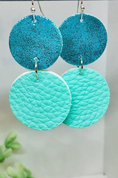 Double Circle Cut Faux Leather Dangle Earrings, Suede Teal Circle Earrings, Teal Textured Circle Earrings, Lightweight, Double-sided