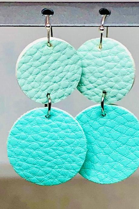 Double Circle Cut Faux Leather Dangle Earrings, Mint Green Circle Earrings, Teal Green Circle Earrings, Lightweight, Double-sided