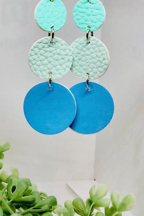 Cascading Circles Faux Leather Dangle Earrings, Teal Green Circle, Mint Green Circle, Blue Circle, Circle Dangles, Lightweight, Double-sided