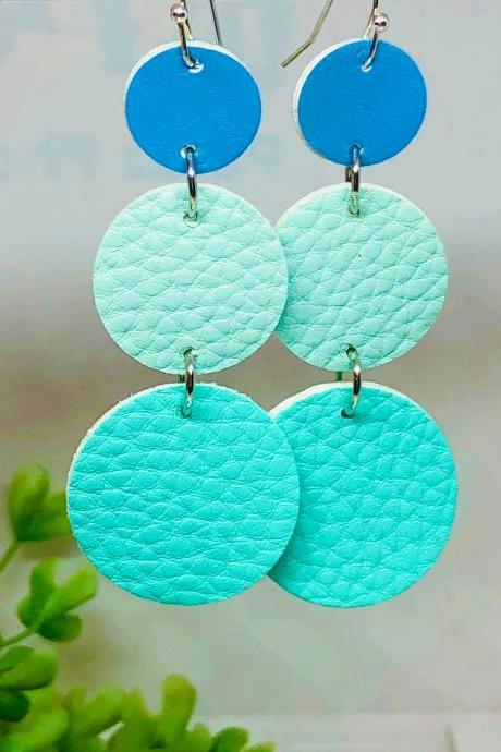 Cascading Circle Faux Leather Dangle Earrings, Circle, Teal Green Circle, Mint Green Circle, Blue Circle, Lightweight, Double-sided