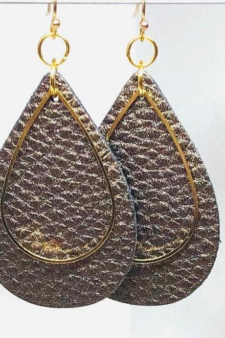 Brown Textured Faux Leather Earrings, Gold Teardrop Charm, Teardrop Earrings, Double-sided Earrings, Dangle Earrings