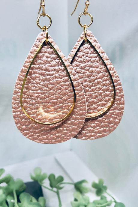 Light Pink Textured Faux Leather Earrings, Teardrop Earrings, Double-sided Earrings, Gold Teardrop Charm, Dangle Earrings