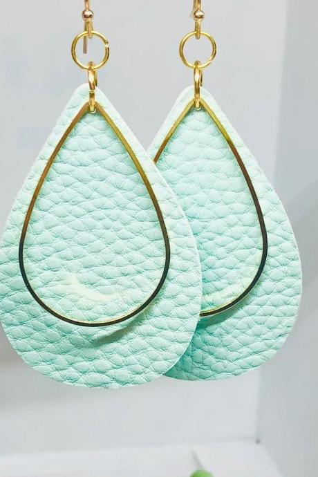 Mint Green Textured Faux Leather Earrings, Teardrop Earrings, Double-sided Earrings, Gold Teardrop Charm, Dangle Earrings
