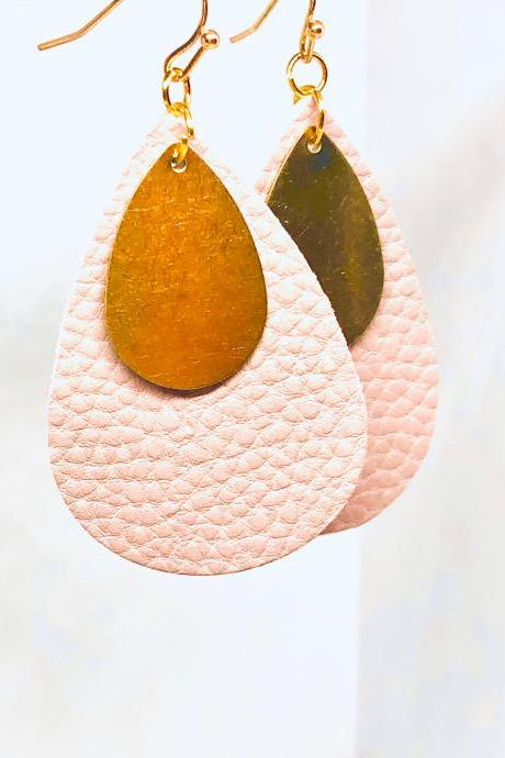 Light Pink Textured Faux Leather Earrings, Teardrop Earrings, Double-sided Earrings, Brass Teardrop Charm, Dangle Earrings