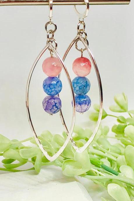 Silver Platted Hammered Leaf, Hoop Dangle Earrings, Cracked Agate Beads, Pink, Blue, Purple Beads, Dangle, Hoop Earrings