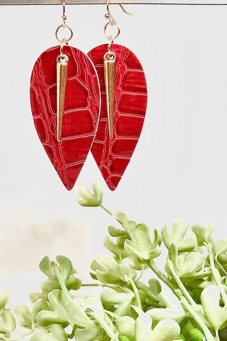 Faux Leather Leaf Earrings, Red Crocodile, Gold Round Spear Pendant, Double-Sided, Dangle Earrings, Lightweight, Easy to Wear