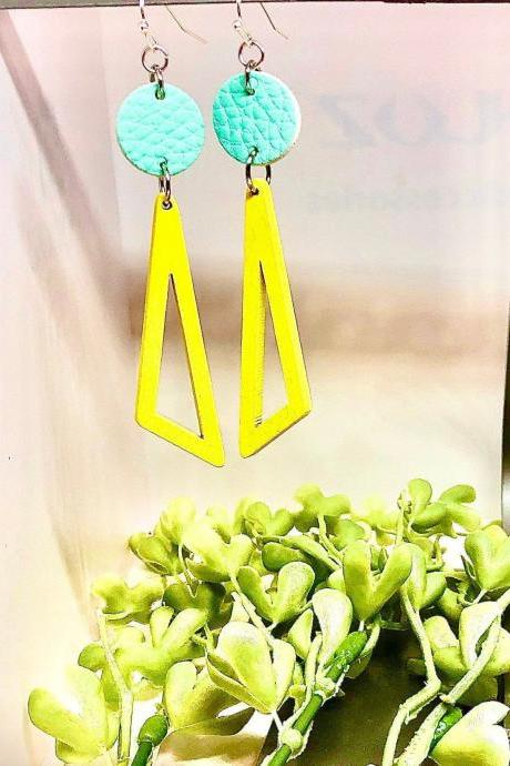 Faux Leather Circle Dangle Earrings, Wooden Geometric Bead, Circle, Triangle, Lightweight, Teal, Yellow, Easy to Wear