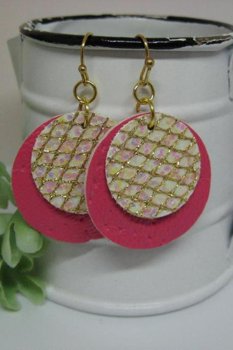 Pink with Gold Glitter Textured Circle Faux Leather Earrings