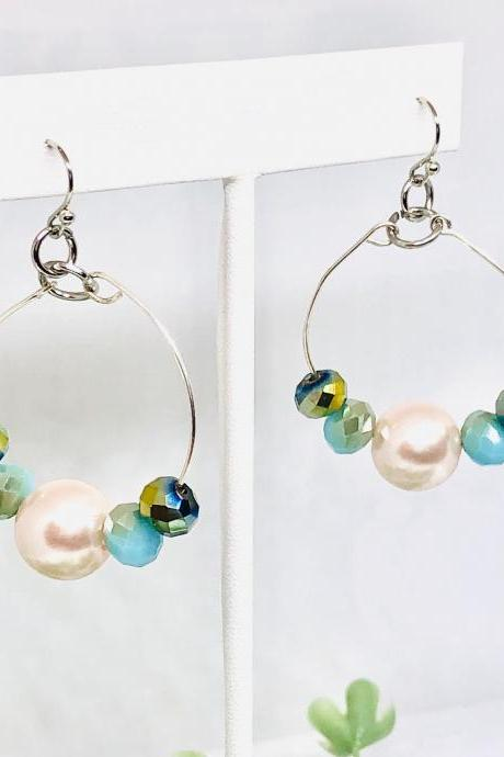 Small Dangle Hoop Earrings, Blue and Green Faceted Beads, Large Pearl, Hoop Dangle Earrings