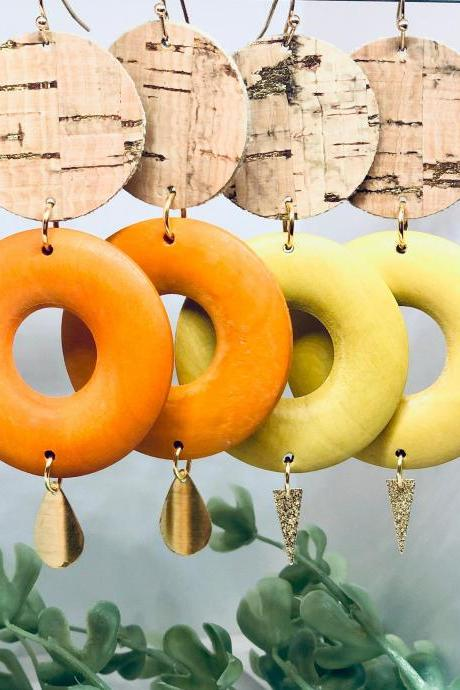 Cork Leather Gold Splatter Dangle Earrings, Wooden Donut Bead, Brass Dangle Pendant, Circle, Lightweight, Yellow and Orange