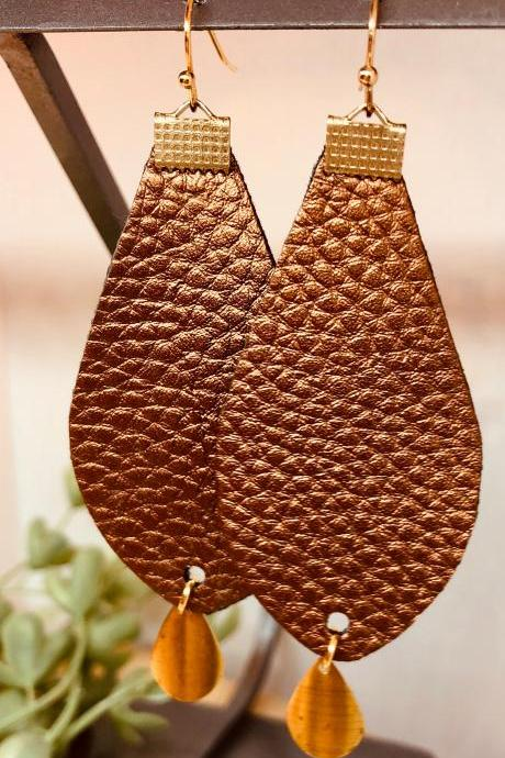 Brown Teardrop Faux Leather Earrings, Double-sided, Dangles, Lightweight, Ready to Ship