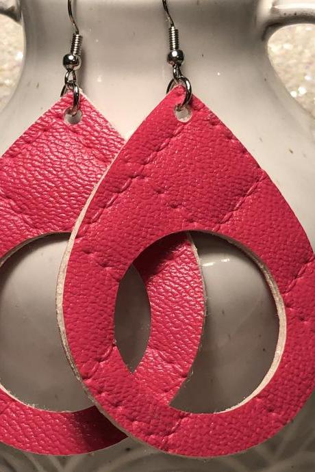 Silver Glitter Cork Circle Cut Leather Earrings