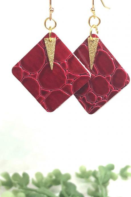 Faux Leather Square Earrings, Red Crocodile, Gold Hammered Spear Pendant, Double-Sided, Dangle Earrings, Lightweight.