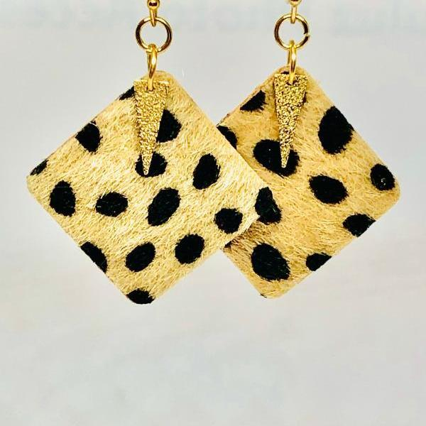 Faux Leather Square Earrings, Fuzzy Leopard, Gold Hammered Spear Pendant, Double-Sided, Dangle Earrings, Lightweight, Easy to Wear.